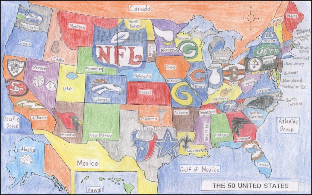 Artwork Pro Football Critics - Us map nfl teams